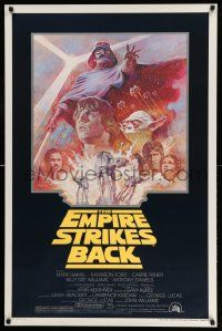 3h152 EMPIRE STRIKES BACK studio style 1sh R81 George Lucas sci-fi classic, cool art by Tom Jung!