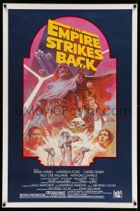 3h153 EMPIRE STRIKES BACK studio style 1sh R82 George Lucas sci-fi classic, art by Tom Jung!