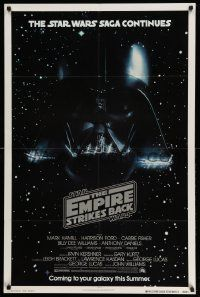 3h191 EMPIRE STRIKES BACK NSS style advance 1sh '80 Darth Vader helmet and breathing mask in space!