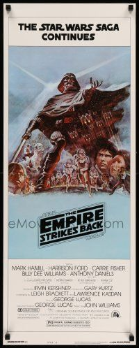 3h117 EMPIRE STRIKES BACK style B insert '80 George Lucas sci-fi classic, cool artwork by Tom Jung!
