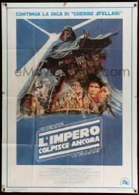 3h030 EMPIRE STRIKES BACK Italian 1p '80 George Lucas classic, great montage art by Tom Jung!