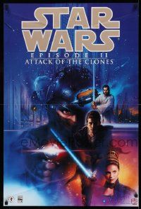 3h283 ATTACK OF THE CLONES 2-sided 24x36 special '02 Star Wars Episode II, art by Tsuneo Sanda!