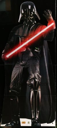 3h015 DARTH VADER 33x74 standee '04 cool life-size Star Wars villain with lightsaber!