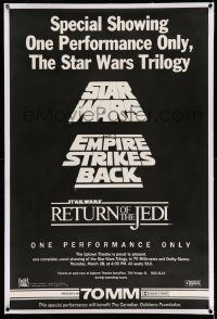 3h001 STAR WARS TRILOGY linen Canadian 1sh '85 one performance only, one of two posters made!