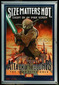 3h347 ATTACK OF THE CLONES IMAX style A vinyl banner '02 McMacken art of Yoda, size matters not!