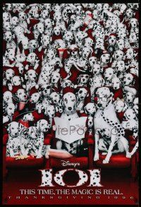 3r016 101 DALMATIANS teaser DS 1sh '96 Walt Disney live action, wacky image of dogs in theater!
