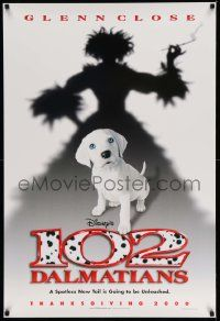 3r017 102 DALMATIANS teaser DS 1sh '00 Walt Disney, shadow of wicked Glenn Close & cute puppy!