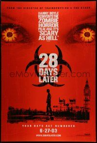3r024 28 DAYS LATER teaser 1sh '03 Danny Boyle, Cillian Murphy vs. zombies in London!