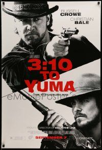 3r026 3:10 TO YUMA teaser DS 1sh '07 Russell Crowe & Christian Bale over white background!