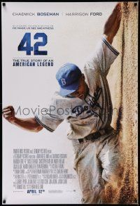 3r031 42 advance DS 1sh '13 baseball, image of Chadwick Boseman as Jackie Robinson sliding home!