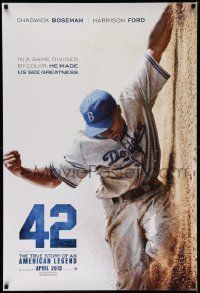 3r032 42 teaser DS 1sh '13 baseball, image of Chadwick Boseman as Jackie Robinson sliding home!