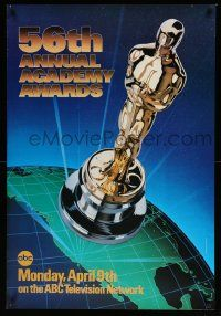 3r001 56TH ANNUAL ACADEMY AWARDS 1sh '84 great image of the Oscar statuette over the earth!