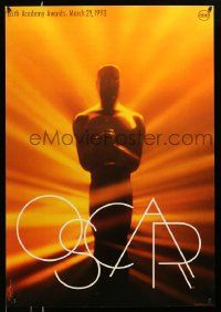 3r003 65th ANNUAL ACADEMY AWARDS heavy stock 1sh '93 Oscar statuette, Saul Bass design!