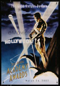 3r008 74TH ANNUAL ACADEMY AWARDS heavy stock 1sh '02 cool Alex Ross art of Oscar over Hollywood!