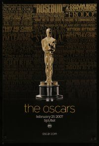 3r014 79TH ANNUAL ACADEMY AWARDS 1sh '07 cool image of Oscar statue & famous quotes!