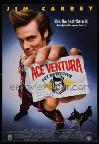 3r042 ACE VENTURA PET DETECTIVE 1sh '94 Jim Carrey tries to find Miami Dolphins mascot!