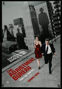3r046 ADJUSTMENT BUREAU teaser DS 1sh '11 cool image of Matt Damon & sexy Emily Blunt on the run!
