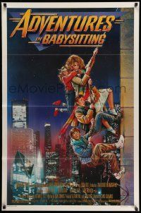 3r047 ADVENTURES IN BABYSITTING 1sh '87 artwork of young Elisabeth Shue by Drew Struzan!