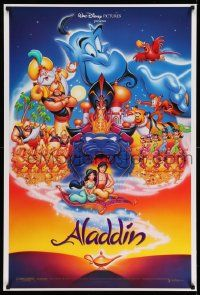 3r058 ALADDIN 1sh '92 Walt Disney Arabian fantasy cartoon, Calvin Patton art of cast!