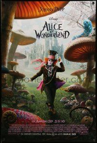 3r065 ALICE IN WONDERLAND advance DS 1sh '10 Johnny Depp as the Mad Hatter surrounded by mushrooms