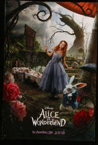 3r066 ALICE IN WONDERLAND teaser DS 1sh '10 Tim Burton, Mia Wasikowska in title role as Alice!