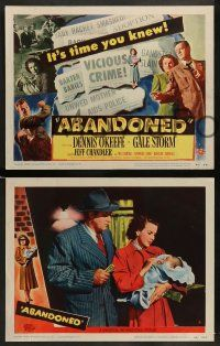 3t022 ABANDONED 8 LCs '49 Dennis O'Keefe, Gale Storm, cool film noir images!