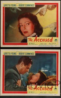 3t025 ACCUSED 8 LCs '49 directed by William Deterle, sexy Loretta Young & Robert Cummings!
