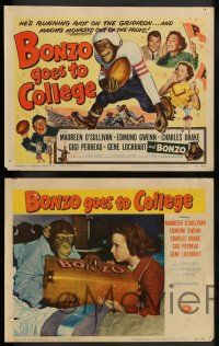 3t051 BONZO GOES TO COLLEGE 8 LCs '52 chimp playing football, all new monkeyshines!