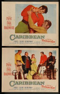 3t056 CARIBBEAN 8 LCs '52 great images of barechested John Payne & sexy Arlene Dahl!