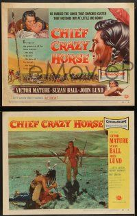 3t063 CHIEF CRAZY HORSE 8 LCs '55 Native Americans Victor Mature Suzan Ball, Keith Larsen, Danton!