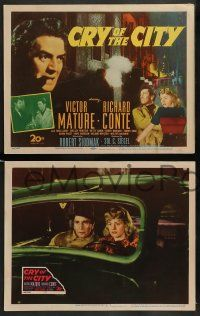 3t069 CRY OF THE CITY 8 LCs '48 Siodmak film noir, Victor Mature, Richard Conte & Shelley Winters!