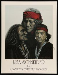 4j067 LISA SCHNEIDER signed 17x22 art print '94 by the artist, Three Generations, Native-Americans!