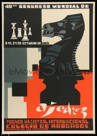 4j043 40ND CONGRESO MUNDIAL DE AJEDREZ Puerto Rican '69 cool artwork of black knight chess piece!