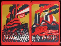 4j031 ALL POWER TO THE SOVIETS Russian 38x50 '88 cool artwork of factory workers by Babin!