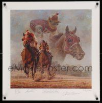 4j068 SEABISCUIT signed 25x25 art print '03 by Fred Stone + Chris McCarron & Gary Stevens, 524/1500!