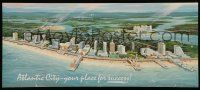 4j010 ATLANTIC CITY 11x26 travel poster '86 wonderful art of the resort town on the beach!