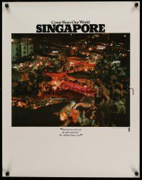 4j012 COME SHARE OUR WORLD SINGAPORE 23x30 travel poster '80s great image of busy market!