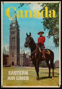4j013 EASTERN AIR LINES CANADA 28x40 travel poster '60s great images of Mountie on horseback!