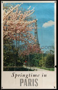 4j023 FRANCE 25x39 French travel poster '60s Paris, colorful flowers and Eiffel Tower!