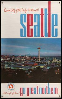 4j009 GREAT NORTHERN RAILWAY SEATTLE 25x40 travel poster '60s image of the skyline at dusk!