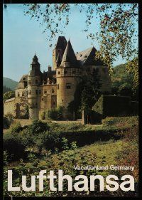 4j020 LUFTHANSA VACATIONLAND GERMANY 23x33 German travel poster '80s image of castle and orchard!