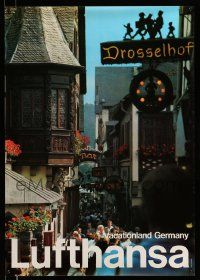 4j021 LUFTHANSA VACATIONLAND GERMANY 23x33 German travel poster '80s image of crowded city street!