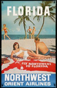 4j014 NORTHWEST ORIENT AIRLINES FLORIDA 25x40 travel poster '60s cool image of couple on beach!