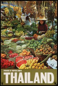 4j017 PARADISE OF TROPICAL FRUITS THAILAND 24x36 Thai travel poster '70s image of fruit stall!