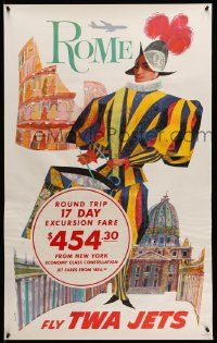 4j016 TWA ROME 25x40 travel poster '60s David Klein art of colorful soldier!