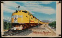 4j008 UNION PACIFIC STREAMLINER 14x23 travel poster '50s great image of The City of Los Angeles!