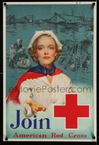 4j002 JOIN AMERICAN RED CROSS 20x30 poster '39 Kauffmann art of nurse reaching out!