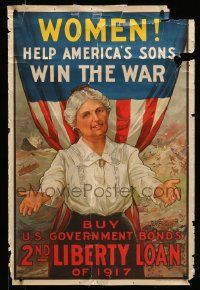 4j001 WOMEN HELP AMERICA'S SONS WIN THE WAR 20x30 WWI war poster '17 stone litho by R.H. Parteous!