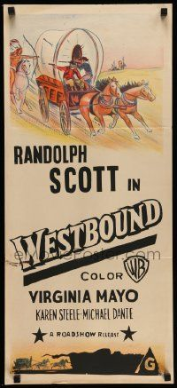 4r461 UNIVERSAL Aust daybill 50s cool different cowboy western stone litho artwork Westbound