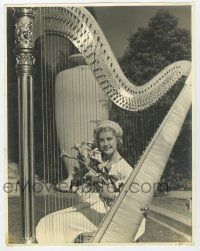4s026 ANITA LOUISE deluxe 11.25x14.25 still '30s great portrait sitting behind harp holding flowers!